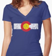 Vintage Colorado Flag Women's Fitted V-Neck T-Shirt
