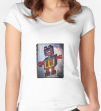 TomoBot Robot In Space Women's Fitted Scoop T-Shirt