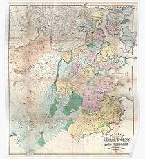Vintage Map of Boston Massachusetts (1896) Poster