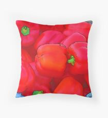 RainbowConfetti Farmers Market: Red Peppers Throw Pillow