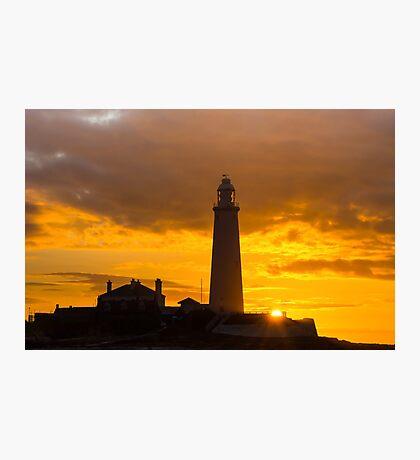 St Mary's Lighthouse Sunrise Photographic Print
