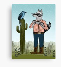 Raccoon Plays Harmonica by Paper Sparrow Canvas Print