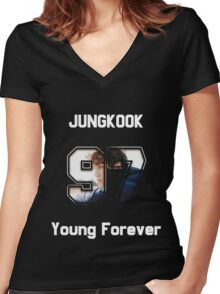 Young Forever - Jungkook Women's Fitted V-Neck T-Shirt