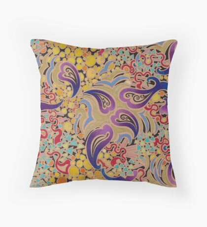 Purple Paisley on Capuccino Surface Throw Pillow