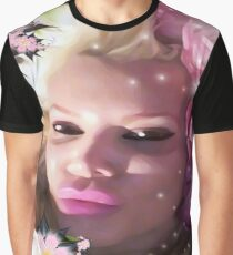 Pink Rose Lady Graphic T-Shirt