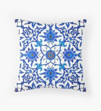 Art Nouveau Chinese Tile, Blue and White Throw Pillow
