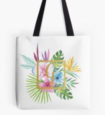 Tropical Floral With Gold Initial G Tote Bag
