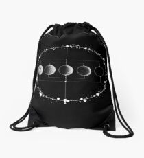 The wired Moon (Black) Drawstring Bag