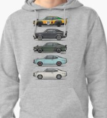 Stack of Mazda Savanna GT RX-3 Coupes Pullover Hoodie