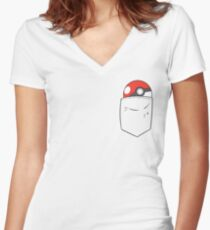 POKEBALL POCKET Women's Fitted V-Neck T-Shirt