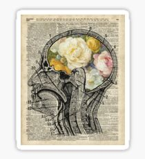 Brain Full Of Flowers Dictionary Art Sticker
