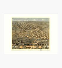 Vintage Map of Macon City Georgia (1869) Art Print