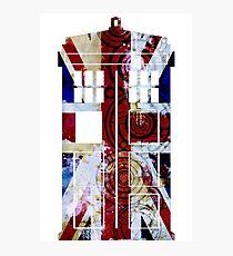 Union Jack TARDIS with Gallifreyan  Photographic Print