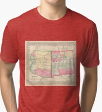 Vintage Map Of Arizona And New Mexico 1867 Tri Blend T Shirt