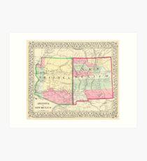 Vintage Map Of Arizona And New Mexico 1867 Art Print