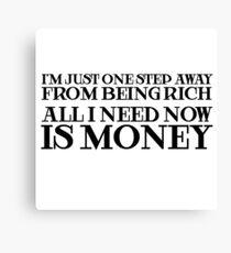 Money Humor Random Rich Ironic Cool Canvas Print