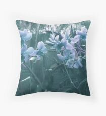 Misty Blue Orchid Throw Pillow