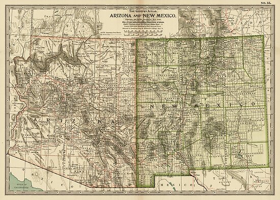 Vintage Map of Arizona and New Mexico (1899)\