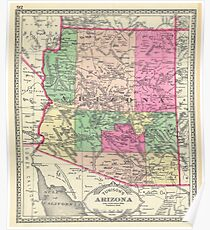 Vintage Map of Arizona (1881) Poster