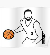 Dwyane Wade Dribbling a Basketball Poster