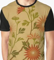 Vintage Pink and Red Wildflower Design Graphic T-Shirt