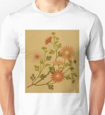 Vintage Pink and Red Wildflower Design Unisex T-Shirt