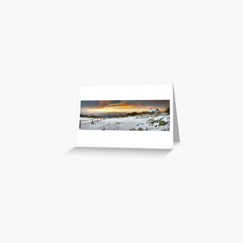 Craigs Hut Winter Sunset, Mt Stirling, Victoria, Australia Greeting Card