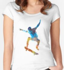 Man skateboard 01 in watercolor Women's Fitted Scoop T-Shirt