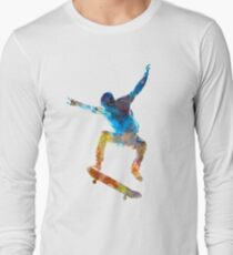 Man skateboard 01 in watercolor Long Sleeve T-Shirt