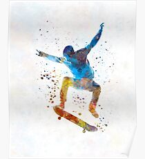 Man skateboard 01 in watercolor Poster