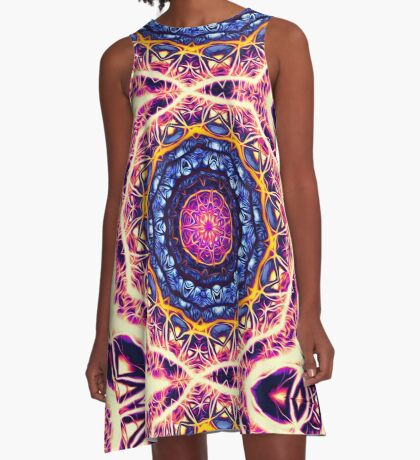 Kaleidoscope 6 psychedelic abstract healing mandala tunnel pattern . A-Line Dress