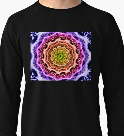 Kaleidoscope 7 psychedelic abstract rainbow mandala tunnel pattern  Lightweight Sweatshirt