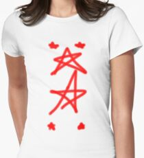 Red Graffiti - Vintage - Star Womens Fitted T-Shirt