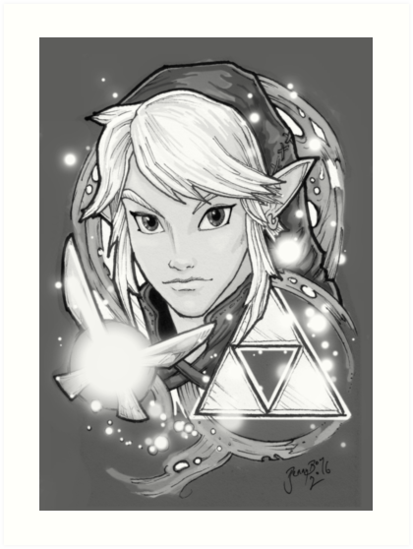 Legend Of Zelda Tattoo Bw Art Prints By Bennyboyart Redbubble
