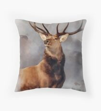 MONARCH OF THE GLEN, Digital Painting of this famous Stag Throw Pillow