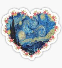 Starry Night inside the Heart Sticker