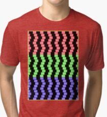 """""""ABSTRACT 3D BLOCKS"""" Psychedelic Print Tri-blend T-Shirt"""