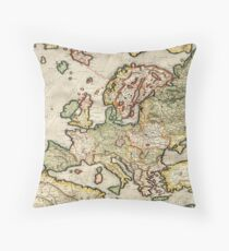 Vintage Map of Europe (1596) Throw Pillow