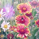 Multi Coloured Flowers with Bee by Lynn Bolt