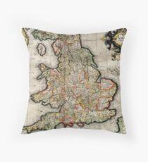 Vintage Karte von England (1596) Dekokissen