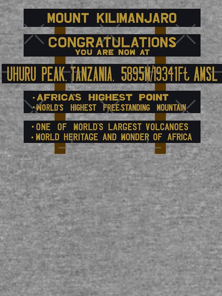 Mount Kilimanjaro, Uhuru Peak Sign, Tanzania by worldofsigns