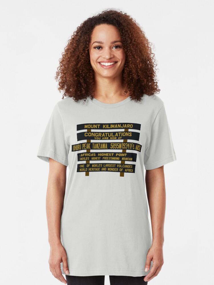 Alternate view of Mount Kilimanjaro, Uhuru Peak Sign, Tanzania Slim Fit T-Shirt