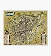 Vintage Map of Brussels Belgium (1698) Photographic Print