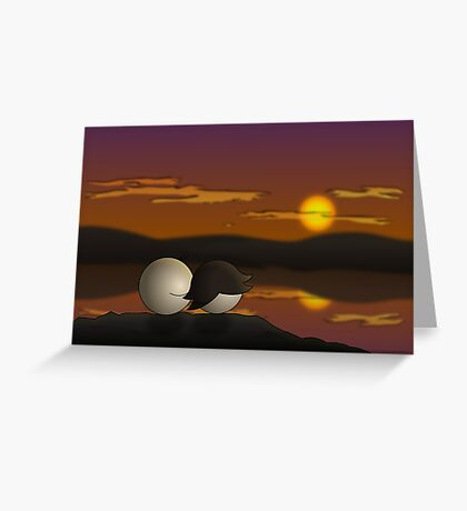 Pea Sunset - two lof bees Greeting Card