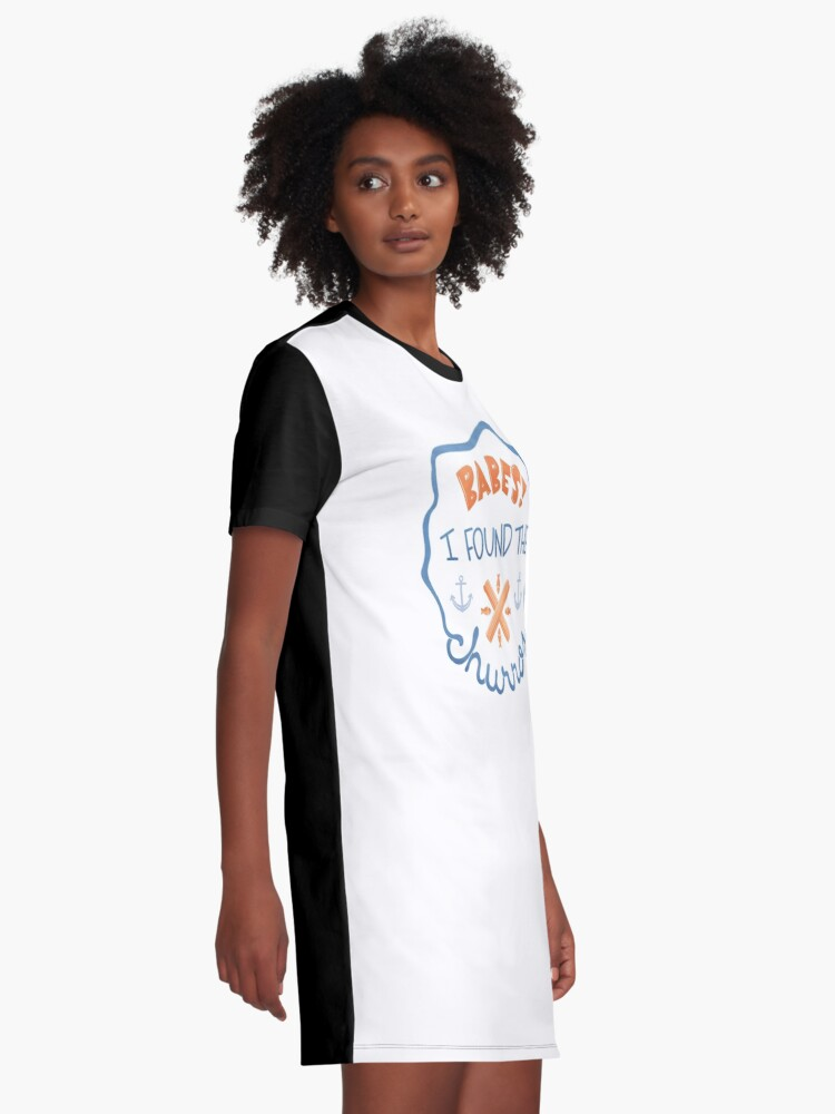 """Alternate view of """"Babes! I Found The Churros!"""" Graphic T-Shirt Dress"""