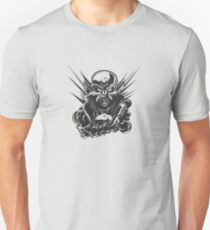 B&W metal skull with cartoon engine T-Shirt