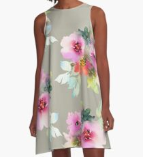 Watecolor flowers stone background A-Line Dress