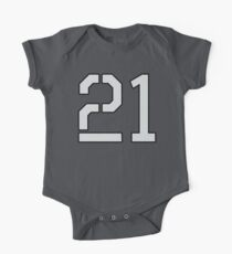 21, TEAM SPORTS, NUMBER 21, TWENTY ONE, TWENTY FIRST, TWO, ONE, Stencil, Competition, on Grey One Piece - Short Sleeve