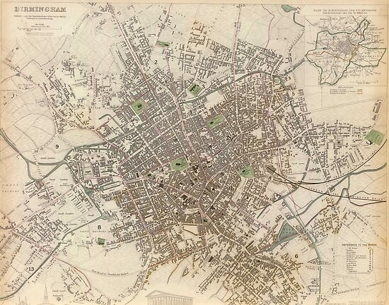 Map Of England Vintage.Vintage Map Of Birmingham England 1839 Posters By Bravuramedia