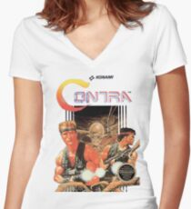 NES Contra Cover (Transparent)  Women's Fitted V-Neck T-Shirt